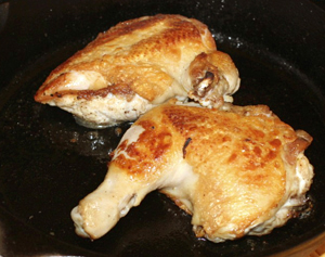 cripsy chicken cooked using cast iron skillet
