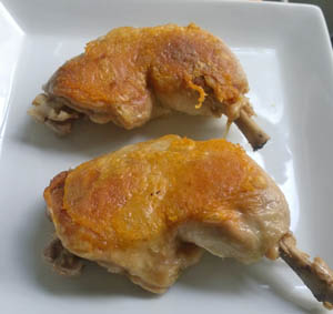 chicken legs confit in duck fat