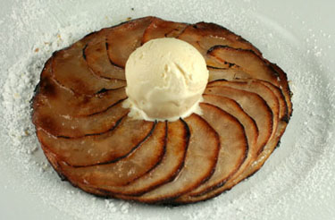 Thin apple tart with vanilla ice cream