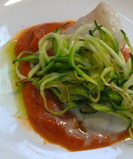 butter_poached_monkfish_red_pepper_sauce_zucchini_spaghetti